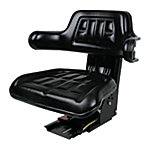 Universal Tractor Seat with Adjustable Suspension, Black