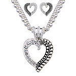 Montana Silversmiths Ladies' Twisted Rope and Crystal Heart Jewelry Set