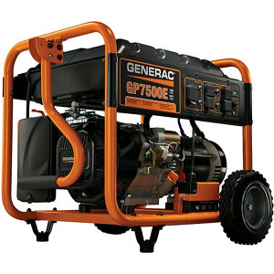 Generac GP7500E Gas Powered Electric Start Portable Generator, 7500