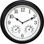 Acu-Rite® 13 in. Black Indoor or Outdoor Metal Clock with Thermometer & Humidity