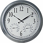 GroundWork 23 in. Galvanized Clock with Thermometer & Hygrometer