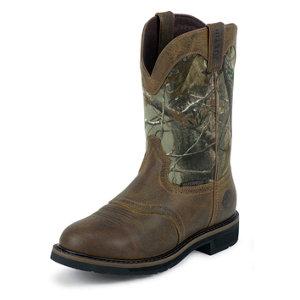 Justin Men S 11 In Cowhide Waterproof Plain Toe Stampede
