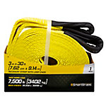 SmartStraps® 3 in. W x 30 ft. L Yellow Recovery Strap with Loop End, 7,500 lb. Safe Work Load