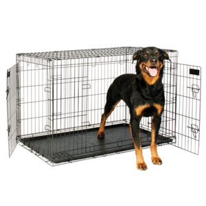 Petmate 2 door elite retreat wire kennel 43 in for dogs 90 to 125