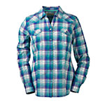 Bit & Bridle™ Ladies' Long Sleeve Dobby Pattern Western Shirt, Teal Blue