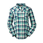 Bit & Bridle™ Ladies' Long Sleeve Western Plaid Shirt, Teal Blue