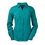 Bit & Bridle™ Ladies' Long Sleeve Y-Neck Western Solid Shirt, Teal Blue