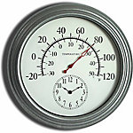 GroundWork® 18 in. Galvanized Thermometer with Small Clock
