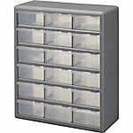 Stack-On Bin Plastic Drawer Cabinet, Silver Gray