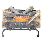 Pleasant Hearth Natural Wood Electric Crackle Log with Grate Front, 20 in. L