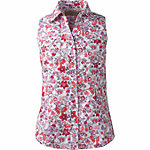 Bit & Bridle™ Ladies' Sleeveless Y-Neck Printed Cotton Shirt, Red floral