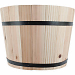 Wooden Barrel Planter, 13 in. dia., Saddle Brown