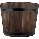 Wooden Barrel Planter, 13 in. dia., Natural