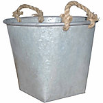 Galvanized Tin Planter with Rope Handles, 13 in. dia.