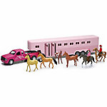 New-Ray Pink Truck & Horse Trailer Toy Set