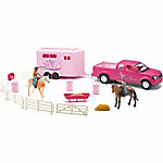 New-Ray 1:20 Pick Up Truck with Trailer/ Barrel Figure Set