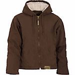 C.E. Schmidt Ladies' Sanded/Washed Duck Sherpa-Lined Hooded Coat, Dark Brown