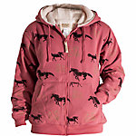 C.E. Schmidt Ladies' Sherpa-Lined Zip-Front Hooded Fleece Sweatshirt, Pink Plume with Horse Print