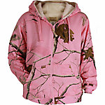 C.E. Schmidt Ladies' Sherpa-Lined Zip-Front Hooded Fleece Sweatshirt, Pink Realtree Camouflage