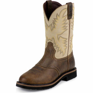 Justin Men S 11 In Steel Toe Stampede Boot Waxy Brown