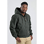 Berne® Men's Washed Duck Quilt-Lined Insulated Hooded Jacket, Moss Green