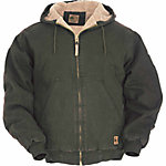 Berne® Men's Sanded/Washed Duck Sherpa-Lined Hooded Jacket, Olive