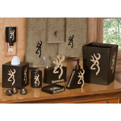 Browning Buckmark Shower Curtain Hooks; Tan/Brown