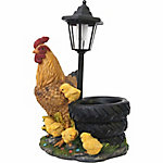 Red Shed Hen with Chicks Planter Solar Tire