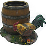 Red Shed 10 in. Rooster and Barrel Resin Planter