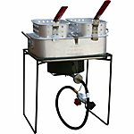 Sportsman Double Basket Outdoor Cooker & Fryer with Single Burner, 19-1/2 in. x 18-1/2 in. x 14-1/2 in.