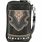 Bandana by American West Women's Combination Cell Phone Case and Zip-Around Wallet, Cool Black