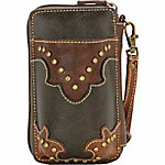 Bandana by American West Women's Combination Cell Phone Case and Zip-Around Wallet, Hunter Brown
