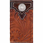 American West Men's Rodeo Wallet with Flap for Checkbook, Antique Brown with Chocolate Brown Leather Accents