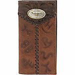American West Men's Rodeo Wallet with Flap for Checkbook, Chocolate Brown with Antique Brown Leather Accents