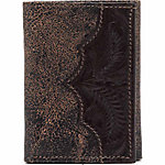 American West Men's Tri-Fold Wallet, Cracked Brown