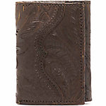 American West Men's Tri-Fold Wallet, Chocolate Brown