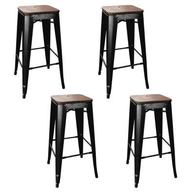 Amerihome Loft Black Metal Bar Stool With Wood Seat 4