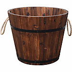 Red Shed Barrel Wooden Planter with 16 in. Rope