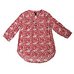 Bit & Bridle Women's Printed Y-Neck Shirred-Front Shirt