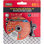 SPECIAL BUY Mibro 3 in. Reinforced Cut-Off Blades and Mandrel Set