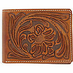 Nocona Embossed Leather Bifold Wallet with Removable Passcase, Tan