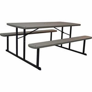 The Blow Mold Folding Wood Grain 6 Ft Picnic Table At