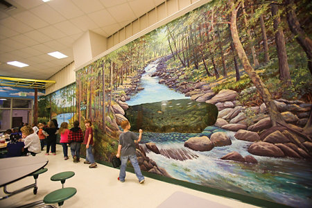 cafeteria wall mural