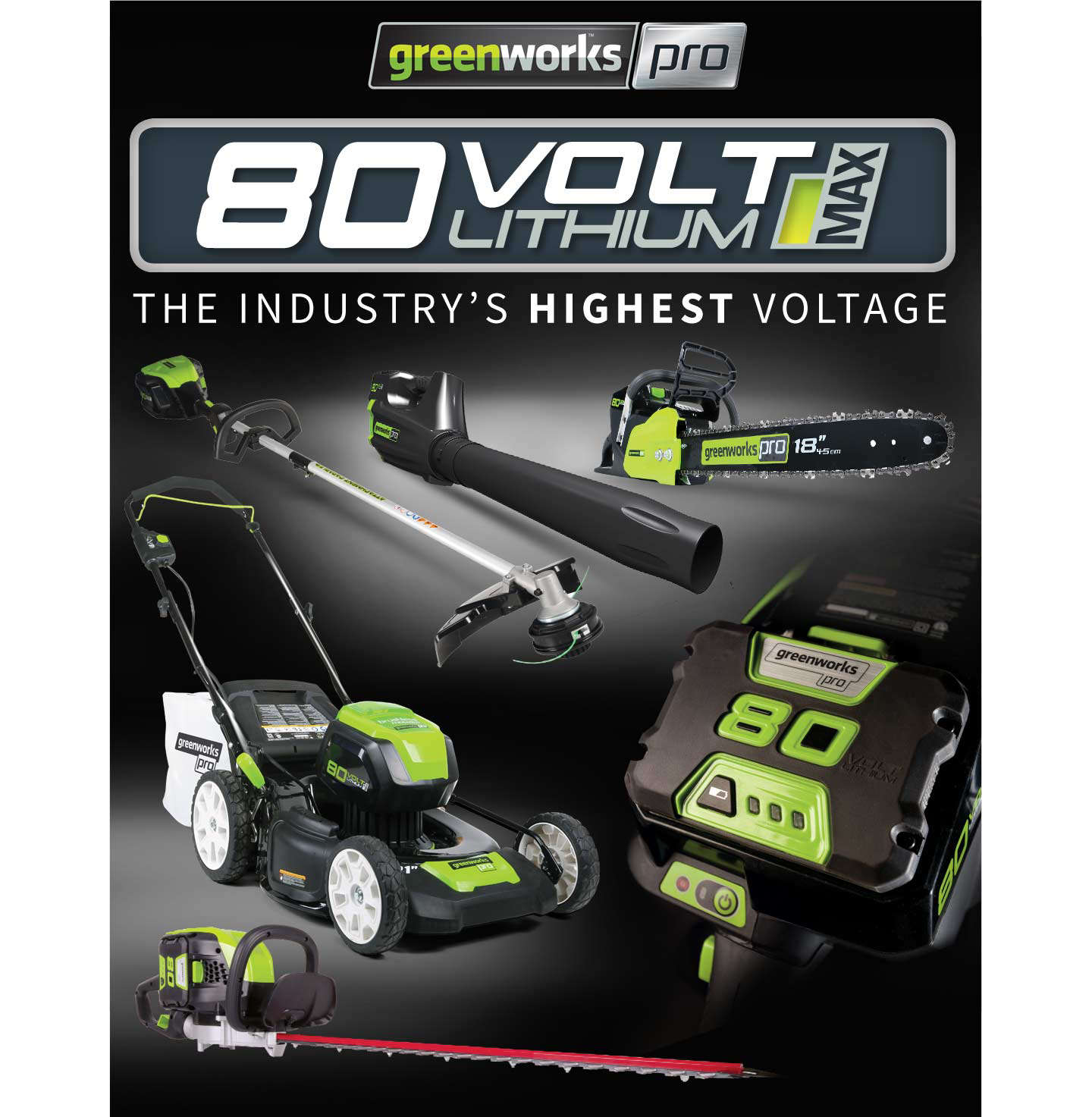 Greenworks 80Volt Battery Powered Garden Tools - Lawnmowers, Leaf Blowers and Chainsaws