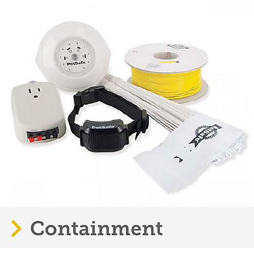Products included in petsafe wireless containment system including receiver, wire, flags and charger.