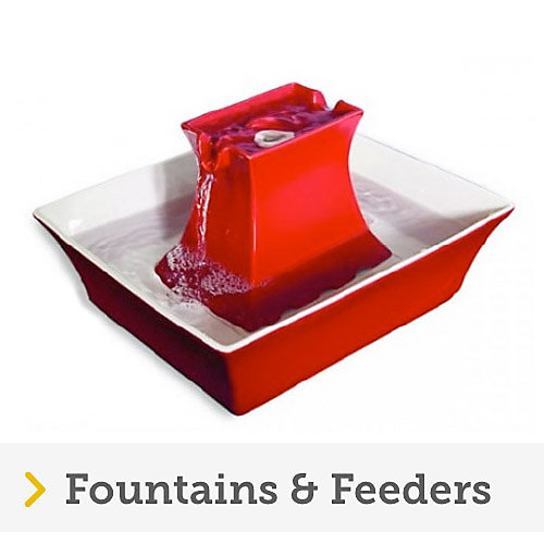 Petsafe red ceramic pagoda drinking fountain for cats and dogs with flowing fresh water.