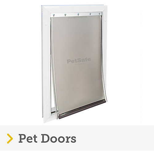 Plastic, white pet door with flap from petsafe.