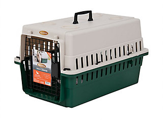 24-inch high plastic dog kennel with a wire door