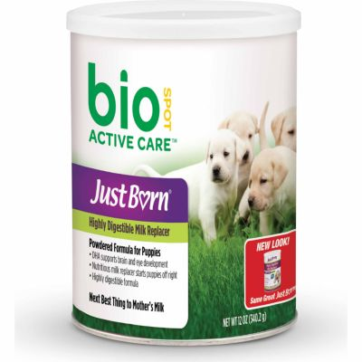 JUST BORN MILK REPLACER FOR PUPPIES, 12 OZ.