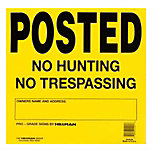 No Hunting/Trespassing Sign, 25 Pack